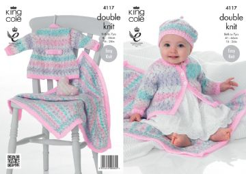Coat, Beret and Blanket Knitting Pattern, King Cole 4117